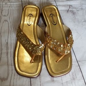 "💜3/$12💜SWEET SEQUIN 1"" HEEL THONG SANDALS"